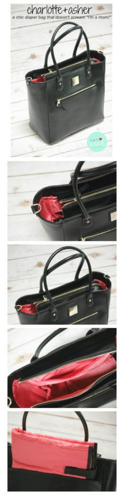 Black designer diaper bag that gives back.  From charlotte+asher.