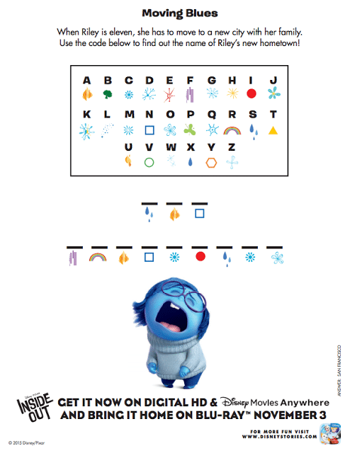 Disney Pixar Inside Out Free Movie Activities And Recipe