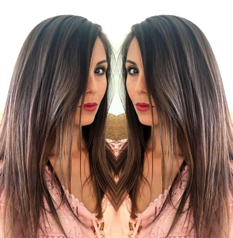 mirrored image - brunette hair