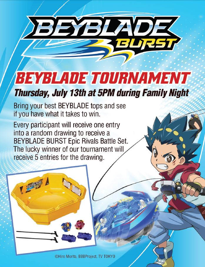 Beyblade Burst Family Night - Ovation Brands - Furr's Fresh Buffet - Beyblade Burst - Tournament Invitation
