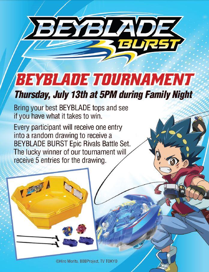 Beyblade Burst Family Night - Ovation Brands - Furr's Fresh Buffet - Beyblade Burst - Tournament Invitation