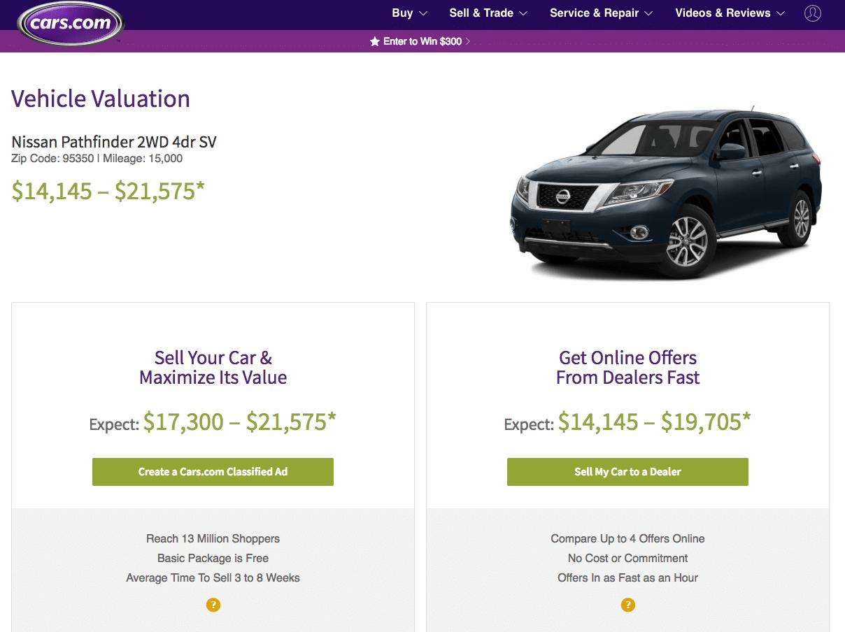 Cars.com car value estimator tool