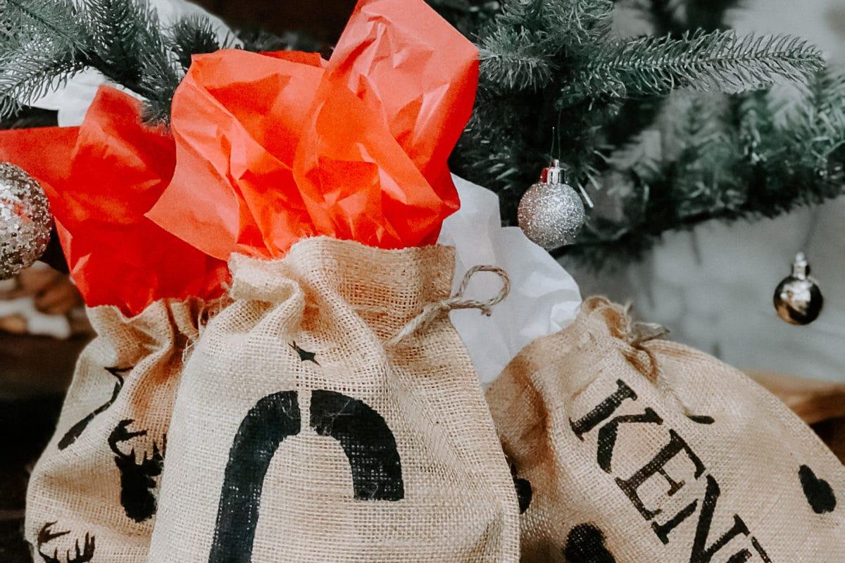 Personalized Burlap Gift Bags