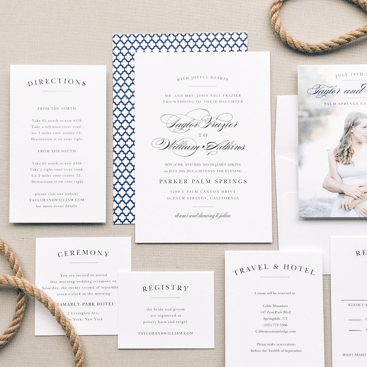 Navy and White Coastal Wedding Invitation