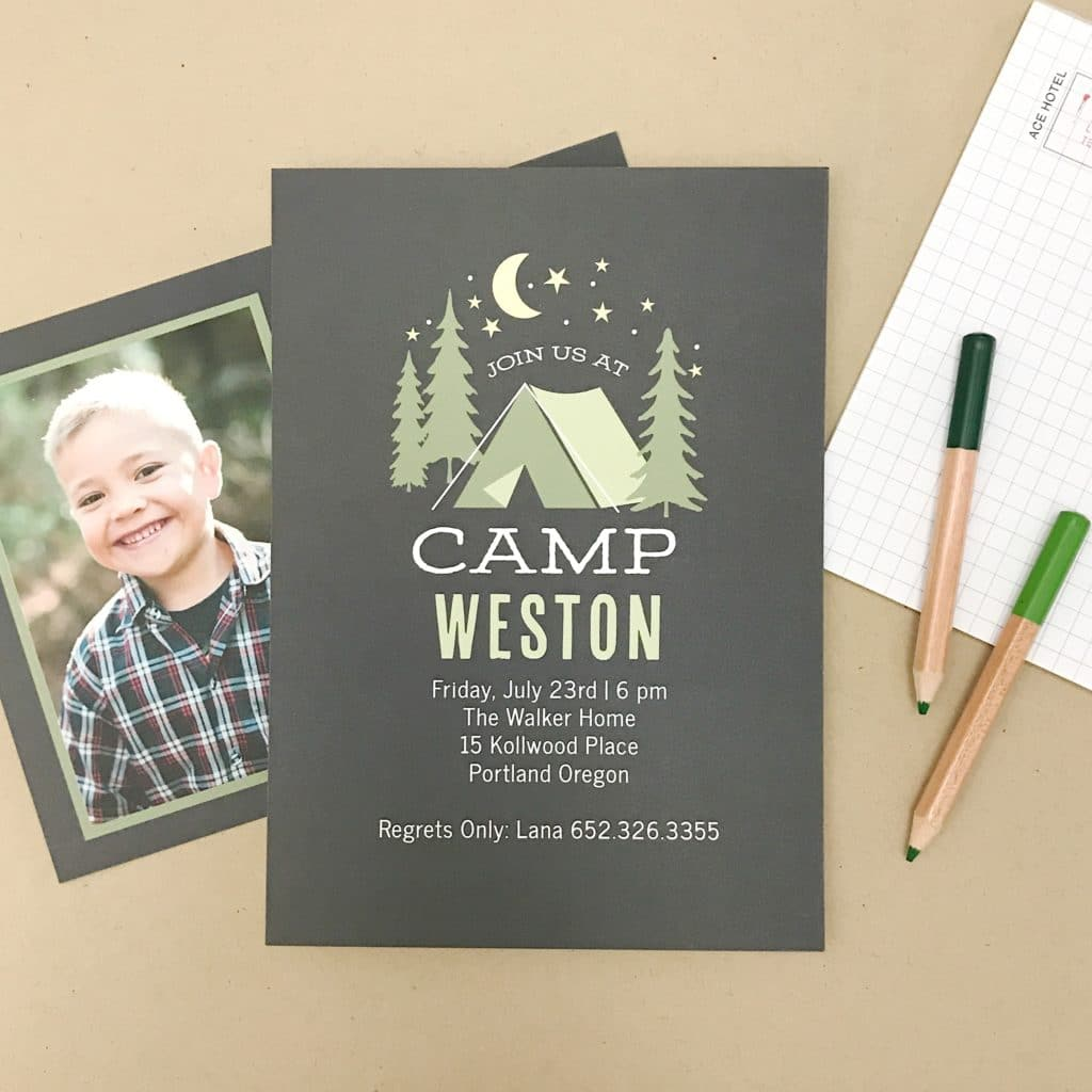 camping birthday party invitation