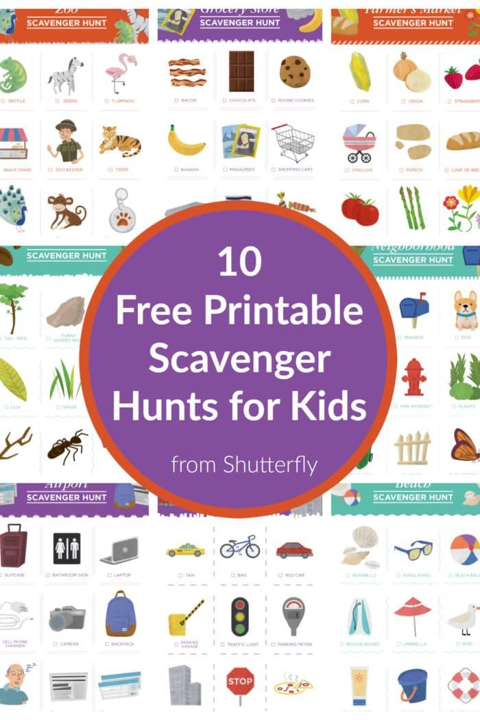 10 Free Scavenger Hunt Printables for Kids from Shutterfly