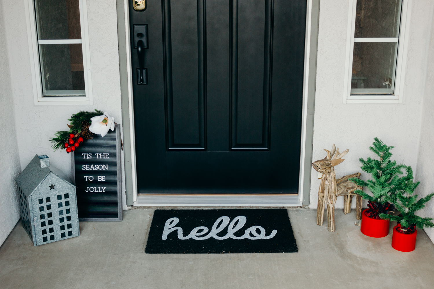 Christmas Front Porch Ideas - Black Farmhouse Front Door
